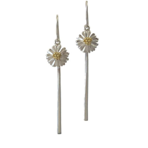 Daisies & Sunflowers Earrings Silver daisy stem hook earrings