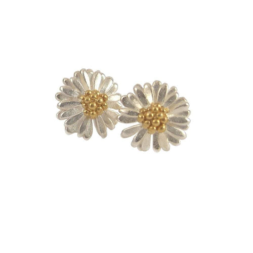 Daisies & Sunflowers Earrings Silver gold 11mm daisy stud earrings
