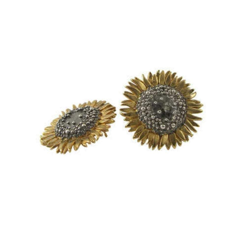 Daisies & Sunflowers Earrings Silver gold large sunflower stud earrings