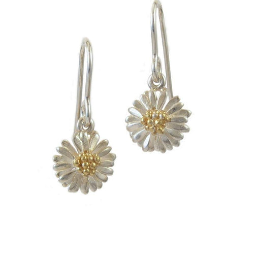 Daisies & Sunflowers Earrings Silver gold small daisy hook earrings