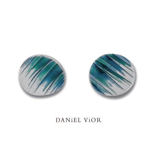 Earrings Daniel Vior Silver green enamel Hafo stud earrings