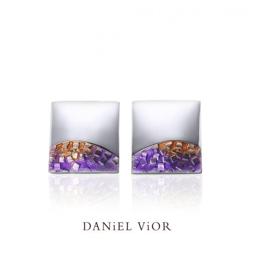 Earrings Daniel Vior Silver violet enamel fer stud earrings