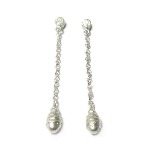 Diana Porter Earrings Diana Porter Silver textured beaded chain drop earrings