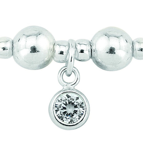 Silver and Crystal CZ April birthstone bracelet