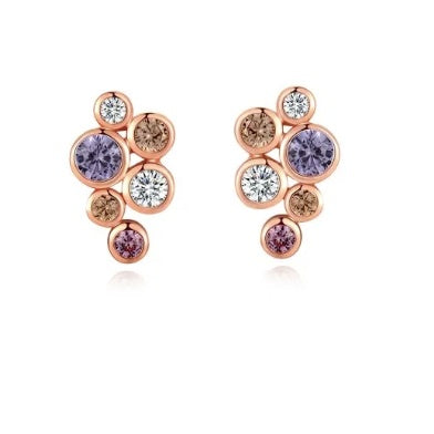 Fei Liu Rose gold and pastel CZ bubble stud earrings