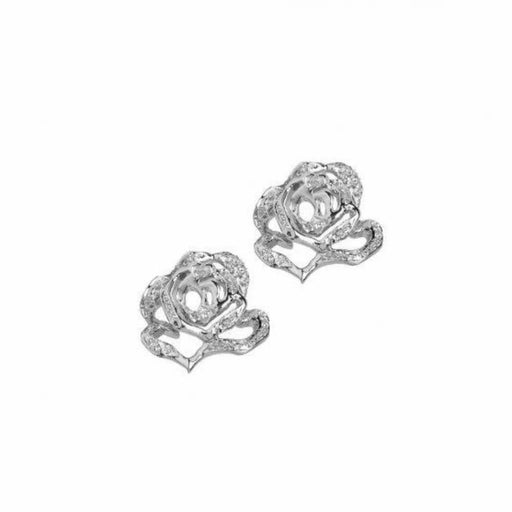 Fei liu Earrings Fei Liu Silver and cubic zirconia rose flower stud earrings