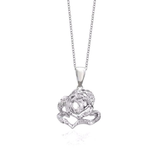 Fei liu Pendant Fei Liu Silver and cubic zirconia small rose flower pendant