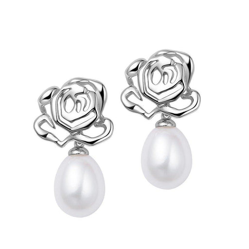 Fei liu Earrings Fei Liu Silver and pearl rose flower drop earrings