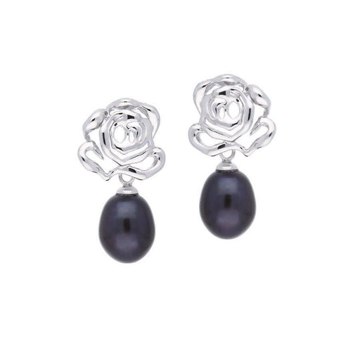 Fei liu Earrings Fei Liu Silver black pearl rose drop earrings