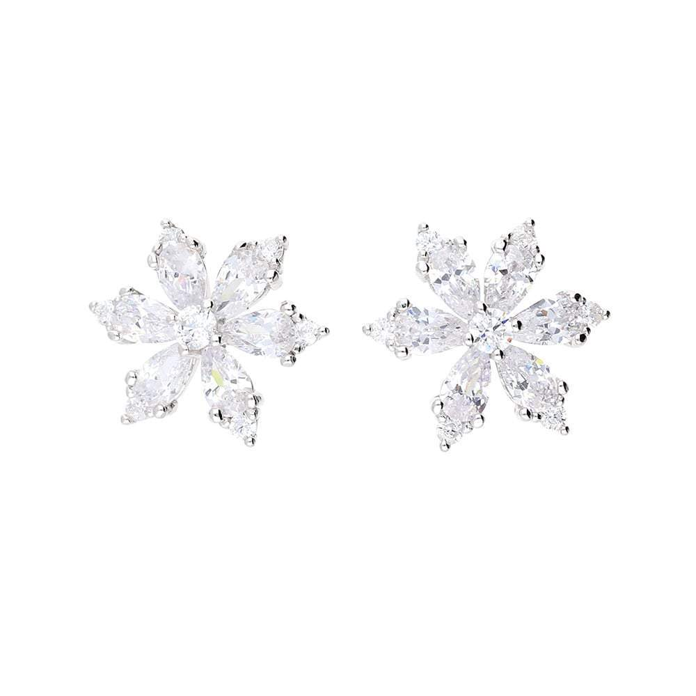 Fei liu Earrings Fei Liu Silver CZ floral snowflake stud earrings