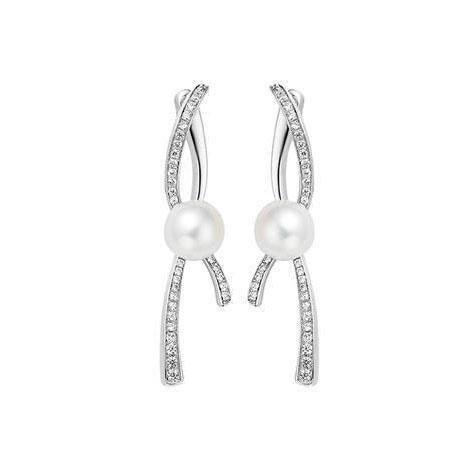 Fei liu Earrings Fei Liu Silver CZ Pearl pirouette 2 part earrings