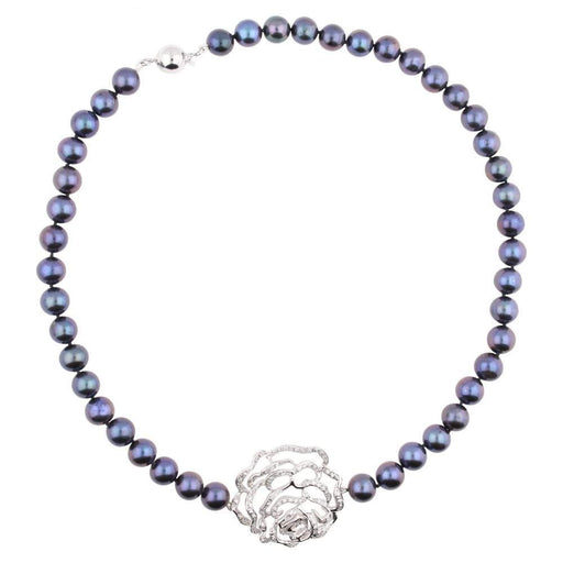 Fei liu Neckwear Fei Liu Silver peacock pearl rose necklace set with cubic zirconia