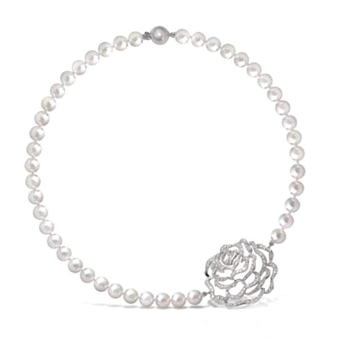 Fei liu Necklace Fei Liu Silver pearl rose necklace