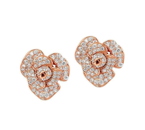 Fei Liu Silver rose gold plate peony stud earrings with  cubic zirconia