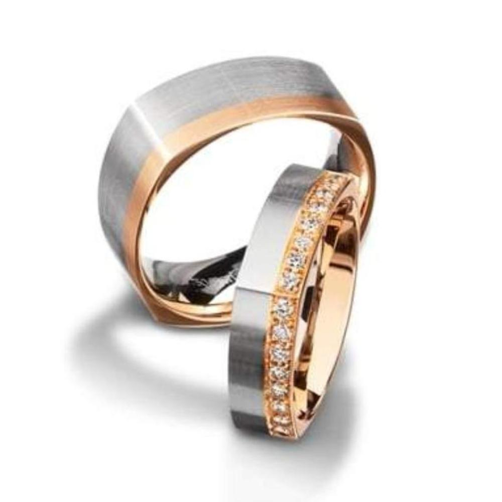 Furrer Jacot Ring 18ct white square shaped wedding band with rose gold edge