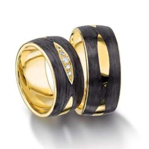 Furrer Jacot Ring 18ct yellow Gold & carbon wedding band