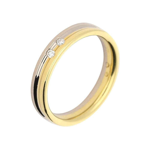 Furrer Jacot Ring Furrer Jacot 18ct white and yellow gold diamond band with groove