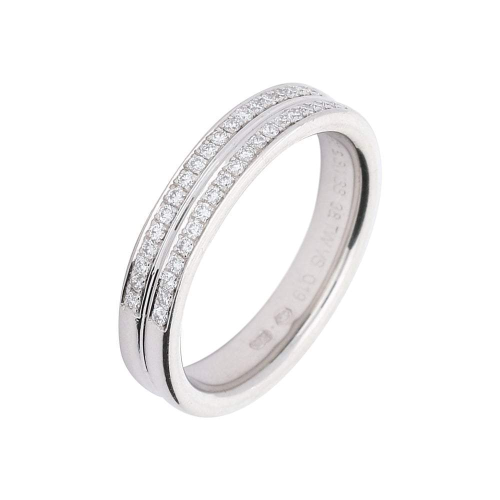 Furrer Jacot Ring Furrer Jacot 18ct white gold 2 row diamond half eternity band
