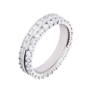 Furrer Jacot Ring Furrer Jacot 18ct white gold band with 2 rows of diamonds
