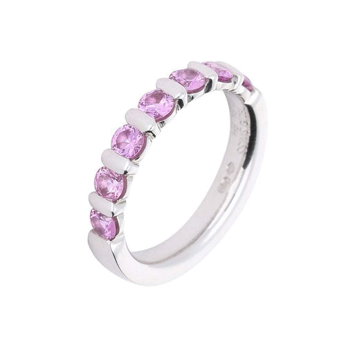 Furrer Jacot Ring Furrer Jacot 18ct white gold pink sapphire half eternity band
