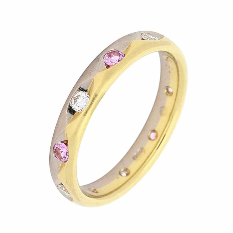 Furrer Jacot Ring Furrer Jacot 18ct yellow and white gold band with diamonds and pink sapphires
