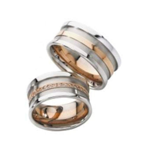 Furrer Jacot Ring Furrer Jacot Palladium & rose gold ridged band