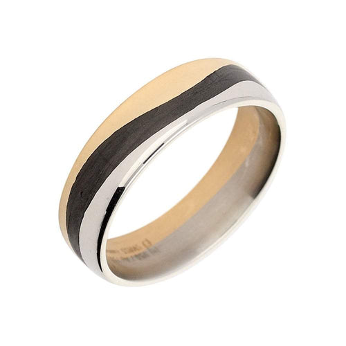 Furrer Jacot Ring Furrer Jacot Palladium with carbon & rose gold band