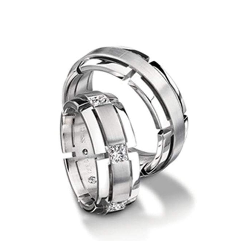 Furrer Jacot Ring Furrer Jacot Palladium with princess diamond band