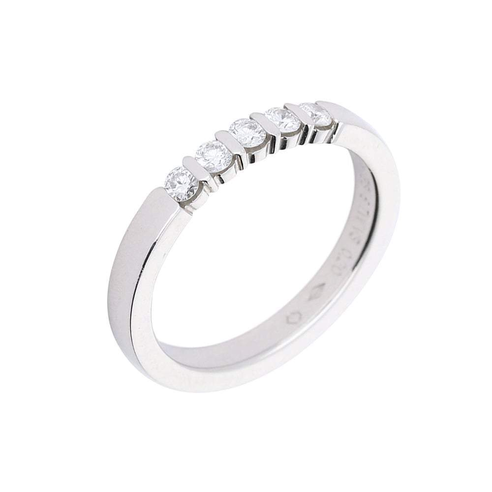 Furrer Jacot Ring Furrer Jacot Platinum eternity band set with five diamonds in bar setting