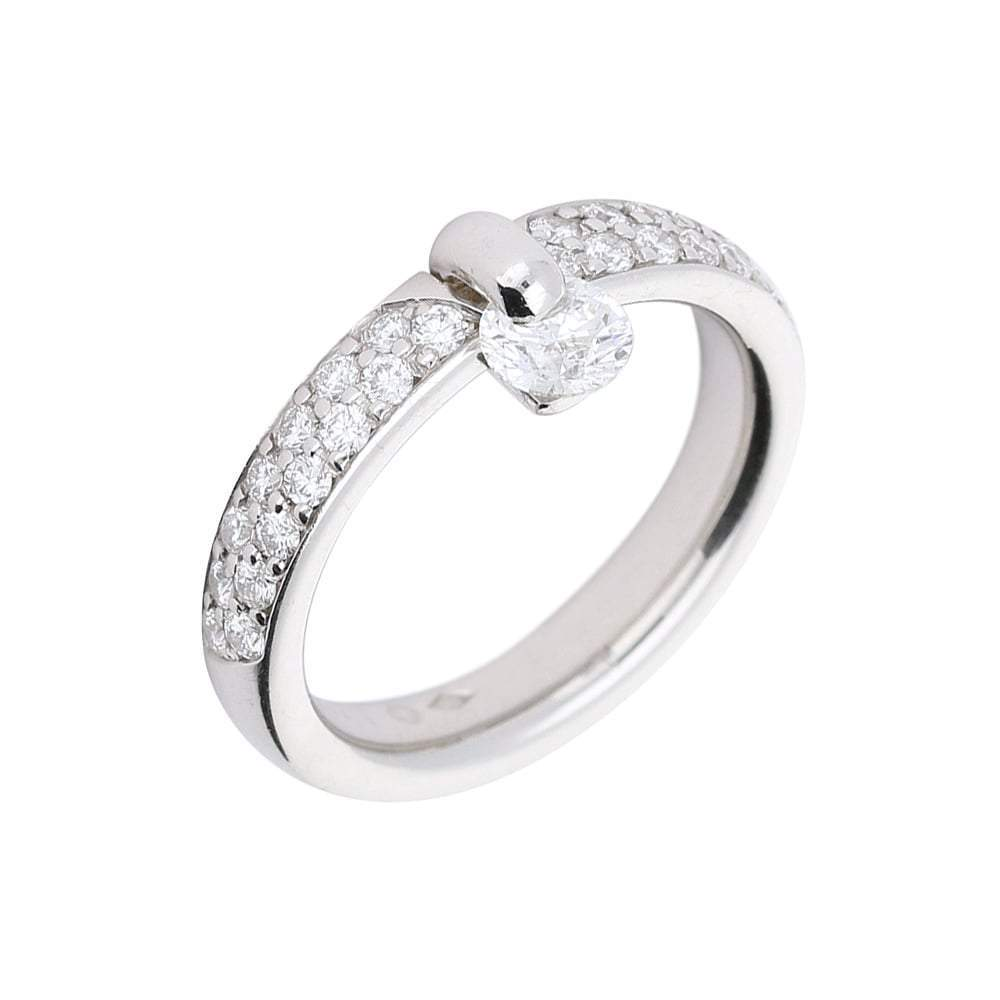 Furrer Jacot Ring Furrer Jacot Platinum side set diamond feelings ring with pave diamond shoulders