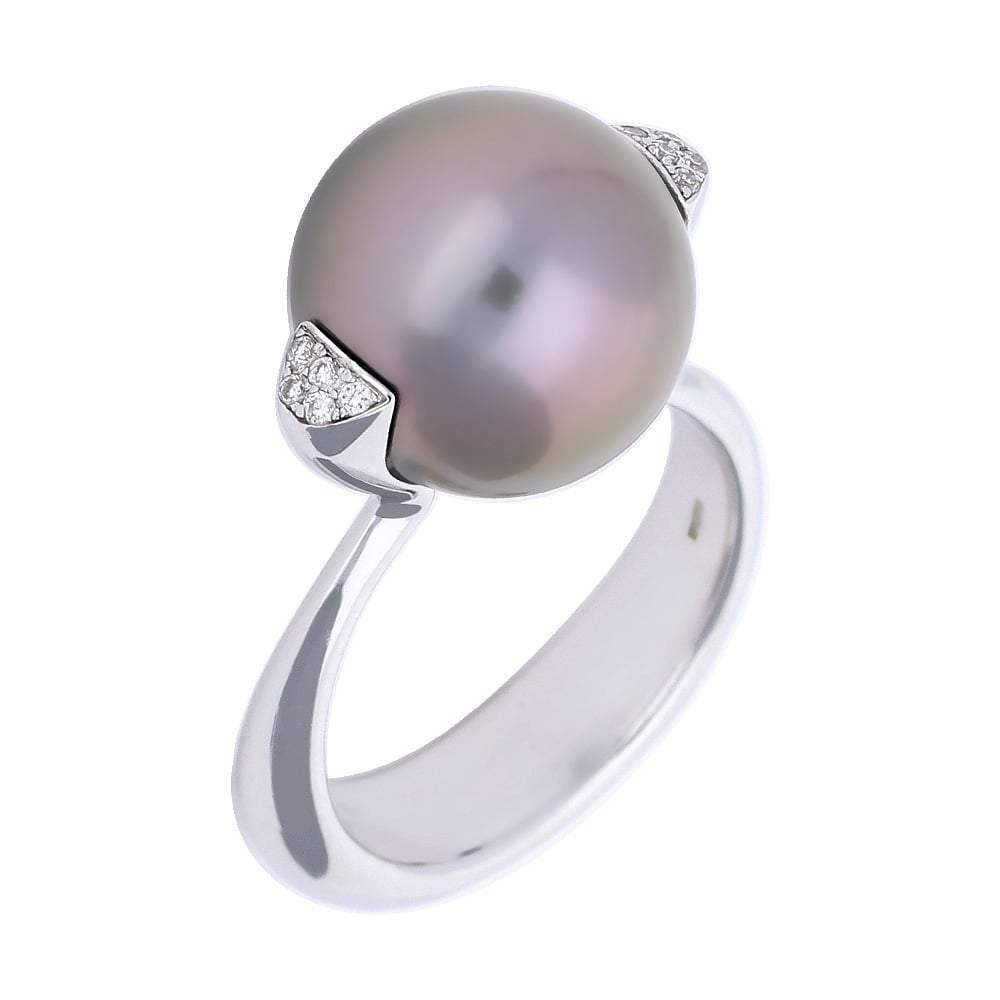 Gellner Ring 18ct white gold tahitian pearl diamond side ring