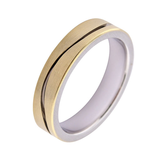 Gerstner Ring 18ct white gold and yellow gold wedding band with a wave groove