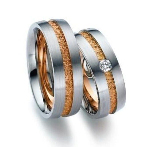 Gerstner Ring 18ct white gold band with rose gold textured centre