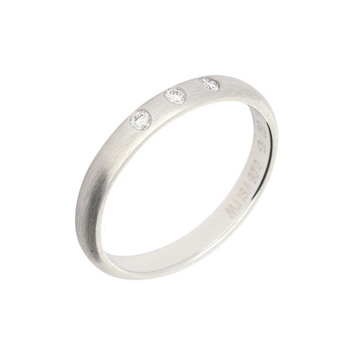 Gerstner Ring 18ct white gold court band with three brilliant diamonds