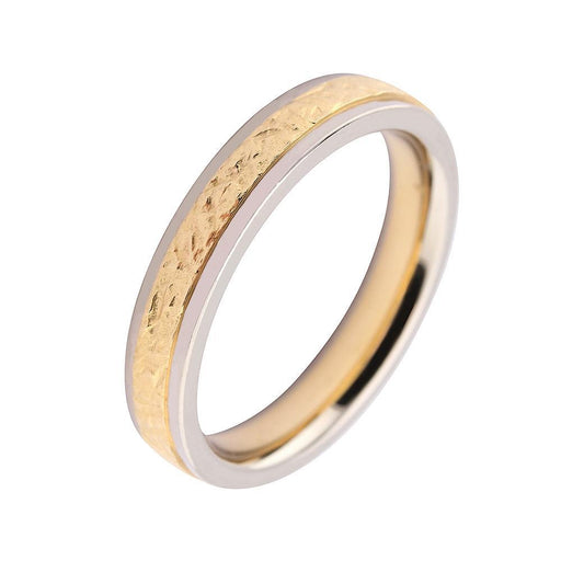 Gerstner Ring 18ct white gold wedding band with rose gold textured middle
