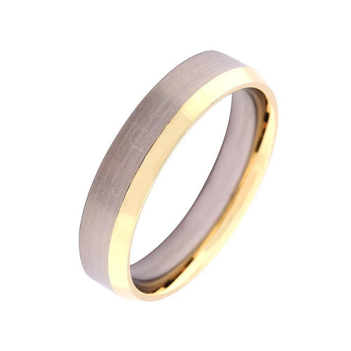 Gerstner Ring 18ct white gold wedding band with sloped rose gold edge