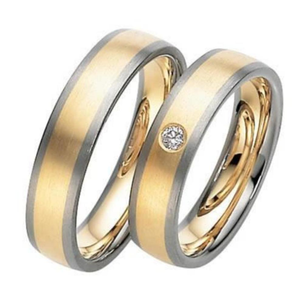 Gerstner Ring 18ct yellow gold and white gold edged wedding band