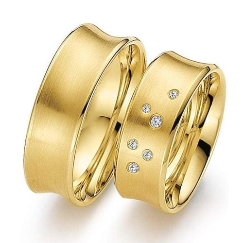 Gerstner Ring 18ct yellow Gold concave wedding band set with scattered diamonds