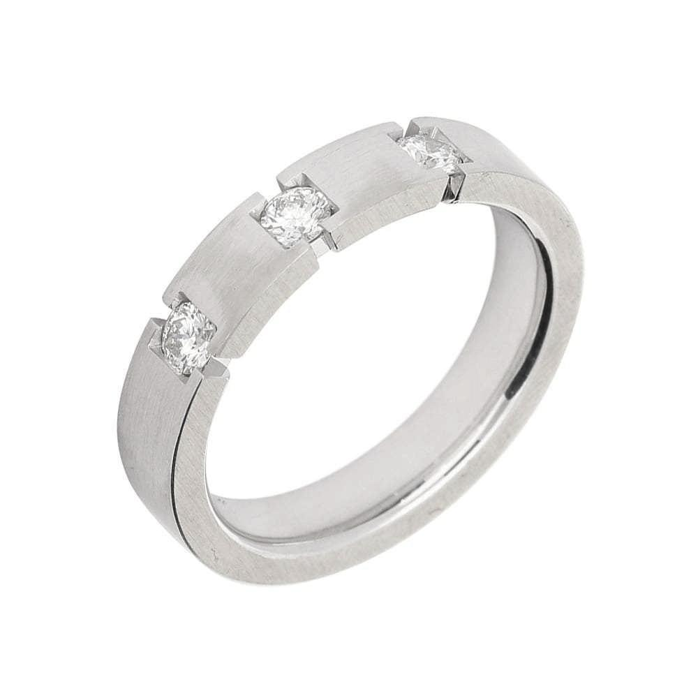 Gerstner Ring Gerstner 18ct white gold band with three diamonds in a groove cut setting