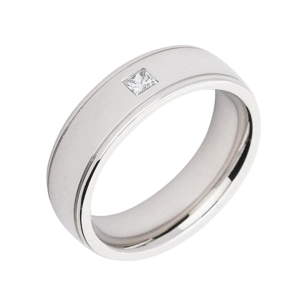 Gerstner Ring Gerstner 18ct white gold grooved edge band set with a princess cut diamond