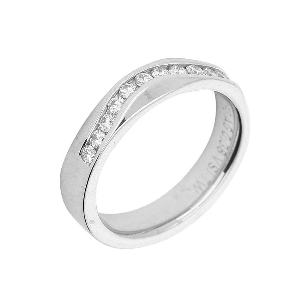 Gerstner Ring Gerstner 18ct white gold half eternity ring with wavy set diamonds