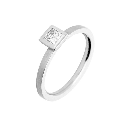 Gerstner Ring Gerstner platinum princess cut 0.25ct solitaire ring with rubover setting