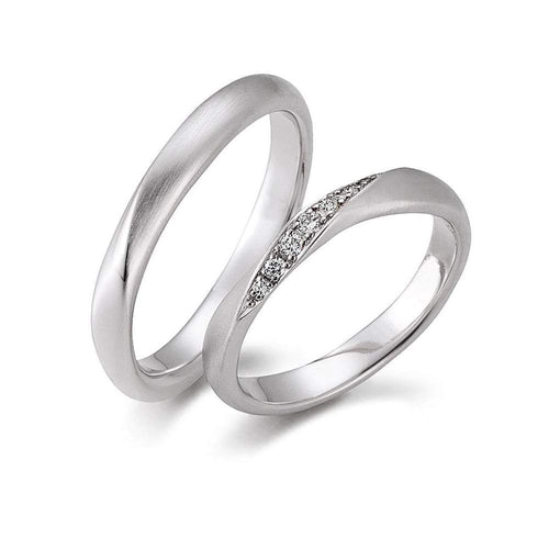 Gerstner Ring Platinum Diamond with twist wedding band