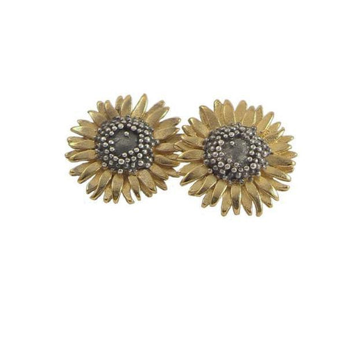 Earrings Gold oxidised medium sunflower stud earrings