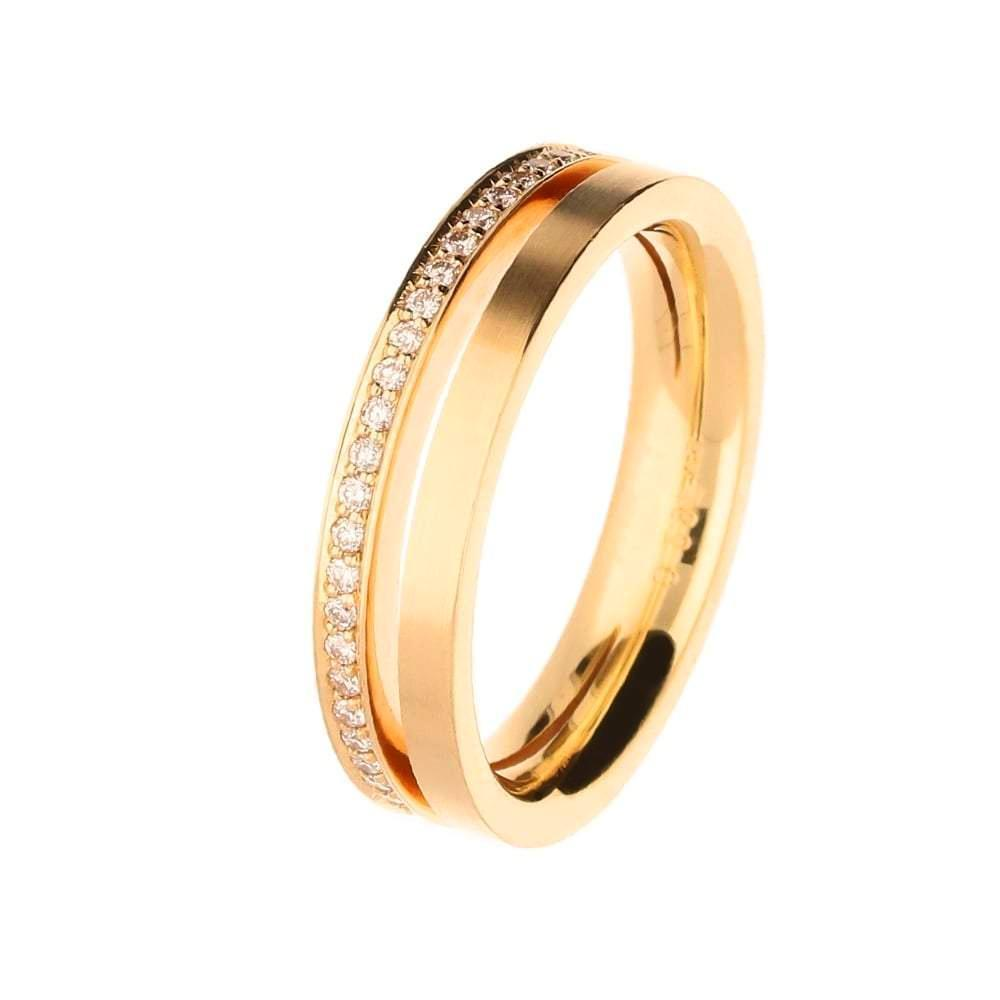 Henrich & Denzel Ring 18ct Rose Gold band with cut out and diamonds
