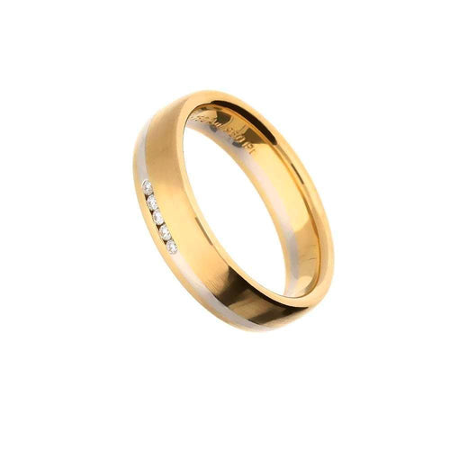 Henrich & Denzel Ring 18ct Rose Gold & Platinum stripe Diamond band