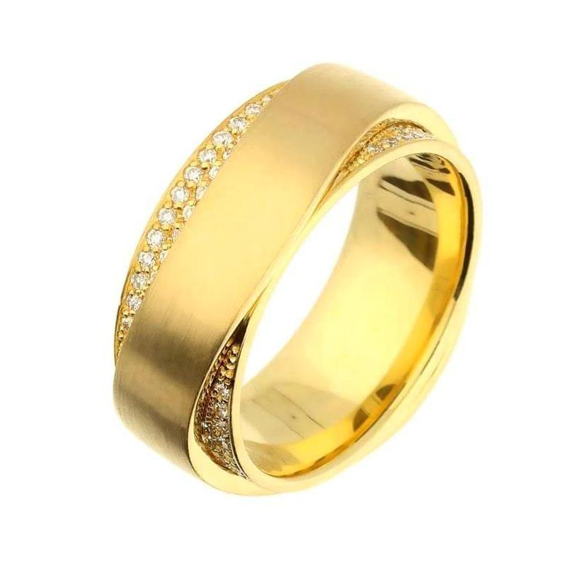 Henrich & Denzel Ring 18ct yellow Gold band with a wavy creation of diamonds