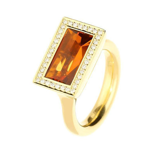 Henrich & Denzel Ring 18ct Yellow gold citrine ring with diamond surround