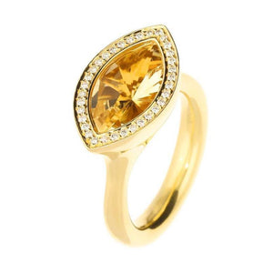 Henrich & Denzel Ring 18ct Yellow gold marquise citrine ring with diamond surround