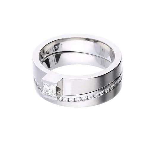 Henrich & Denzel Ring H & D shaped platinum diamond wedding band